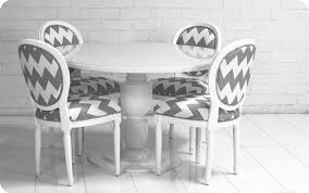 gray and white chevron pattern upholstered dining room chairs also