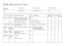 doc sample risk assessment form u2013 film production risk