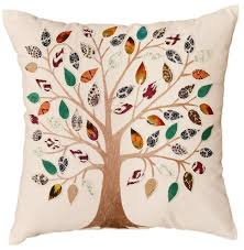 white tree of decorative pillow cover cotton applique work