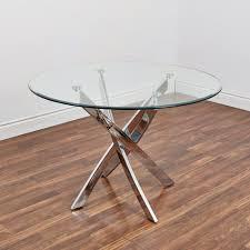 bradford carol glass dining table clear silver kitchen stuff plus