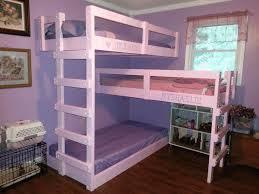 sweet violet triple bunk bed cute pink wooden bed frame soft