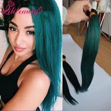 cheap 1b green ombre hair wefts human hair weave bundles two tone