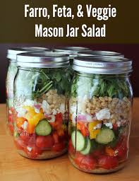 Meals In A Jar by Mason Jar Salad Farro Feta And Vegetables Organize Yourself