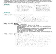 Server Resume Skills Examples Free by Restaurant Server Resume Food Service Server Resume