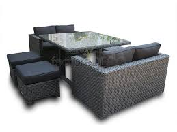 Black Wicker Furniture Versatility Black Sofa Deluxe Cube Rattan Furniture 8 Seat Set Garden