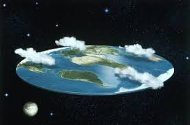 Image of a flat world with clouds