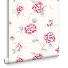 grey wallpaper with red flowers chinese blossom red and grey wallpaper grahambrownrow