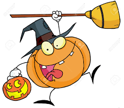 free jack o lantern clipart leaping pumpkin character witch with a jackolantern and broom