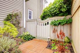 White Backyard Fence - outdoor and patio modified point backyard fence mixed with