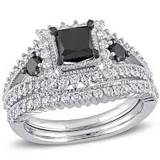 black diamond bridal set 10k white gold 1 8ctw black and white diamond engagement ring and