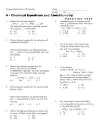 Molar Mass Calculations Worksheet 4 U2022 Chemical Equations And Stoichiometry