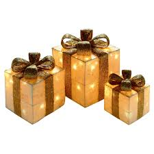Christmas Decoration Light Up Presents by Set Of 3 Light Up Christmas Presents Gold Achica