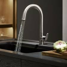 Kohler Brass Kitchen Faucets by Interior Pull Down Handle Kohler Kitchen Faucets With Dark Tile