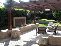 Pergola Landscaping Ideas by Small Backyard Fireplace Southern California Landscaping Stout
