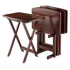 tv tray tables amazon winsome oversize snack table set walnut winsome wood https smile