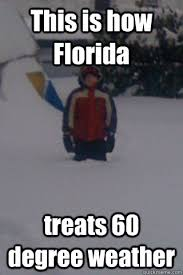 Funny Florida Memes - this is how florida treats 60 degree weather snow kid quickmeme