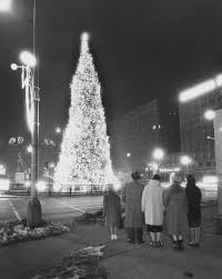 1960 s christmas tree lights christmas tree lighting chicago group of people admiring chicago