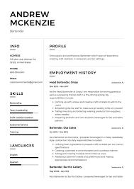 bartending resume exles 12 free bartender resume sles different designs