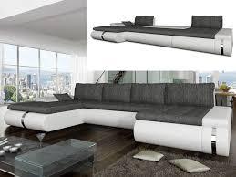 canapé angle convertible réversible canapé angle convertible tissu simili blanc ou noir azelma