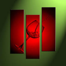 Wine Glass Wall Decor 3 Piece Canvas Red Wine Glass Large Pictures
