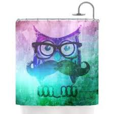 Kess Shower Curtains Inhouse Iruz33 Owl Mustache Shower Curtain