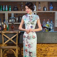 yd243 apple green chinese silk dresses woman high split long