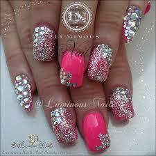 pink and gold nail designs