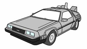 cartoon sports car black and white how to draw the back to the future delorean youtube