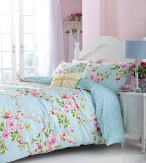 Bed Linen Decorating Ideas Duck Egg Pink Blue Floral Spots Reversible Bedding Curtain