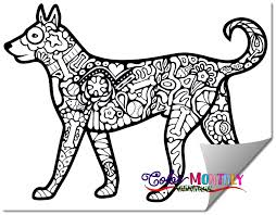 free coloring doodled dog