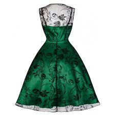 emerald green black flock swing dress elsie u0027s attic