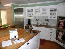Kitchen Brick Backsplash Small Kitchen Spaces With White Wooden Cabinet And Island With
