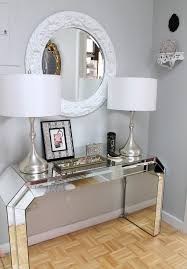 Mirrored Entry Table Lovely Mirrored Entry Table With Glass Bead Chandelier Ornate Lamp