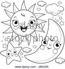 cute smiling cartoon sun moon stars and clouds stock vector art