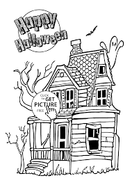 halloween house coloring page for kids printable free halloween