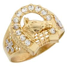 men gold ring 14k two tone solid gold lucky horseshoe cz mens ring