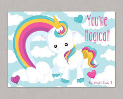 kids valentines cards classroom cards unicorn card classroom