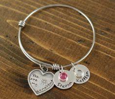 Personalized Bangle Bracelets Personalized Bangle Bracelet Mother Daughter Bracelet Silver
