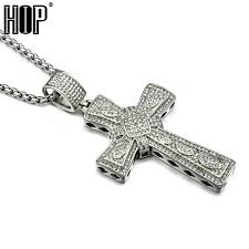 titanium pendant necklace images Hip hop titanium stainless steel full micro pave rhinestone iced jpeg