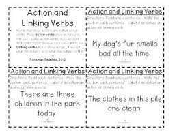 action and linking verbs task cards by foreman teaches tpt