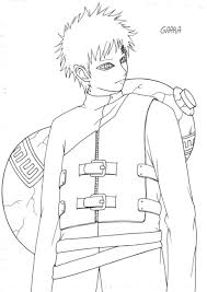 naruto coloring pages awesome gaara cartoon coloring pages of