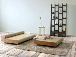 furniture minimalist japanese living room with brown wood seat