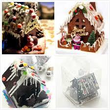 christmas gingerbread house 4pcs set 3d christmas gingerbread house plastic chocolate mold