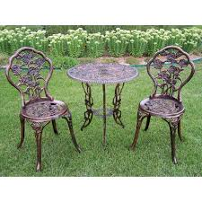 wrought iron chairs patio rose 3 piece bistro patio set walmart com