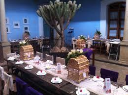 montaje para boda rustica en el primer patio del hotel azul de