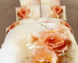 peach rose luxury duvet cover set floral bedding king size
