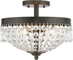 Flush Ceiling Light Fixtures Z Lite 431sf3 Gb Danza Golden Bronze Semi Flush Ceiling Light
