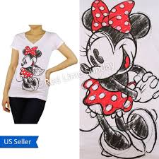 Disney Clothes For Juniors White Minnie Mouse Red Dots Ribbon Print Cotton T Shirt Top Junior New