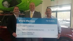 cape cod healthcare foundation receives 12 500 from subaru
