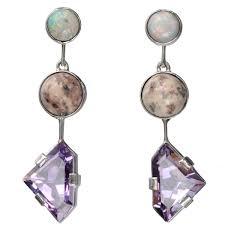 turquoise opal earrings amethyst white turquoise and opal earrings if i wore earrings